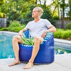 Outdoor Lumin Chair, Cozumel Stripe and Navy