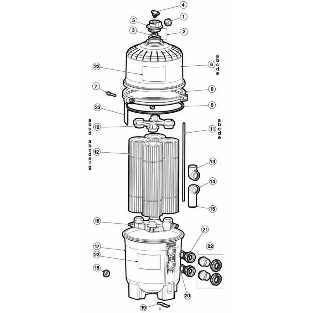 SwimClear Models: C2025, C3025, C4025, C5025 Cartridge Filter Parts image