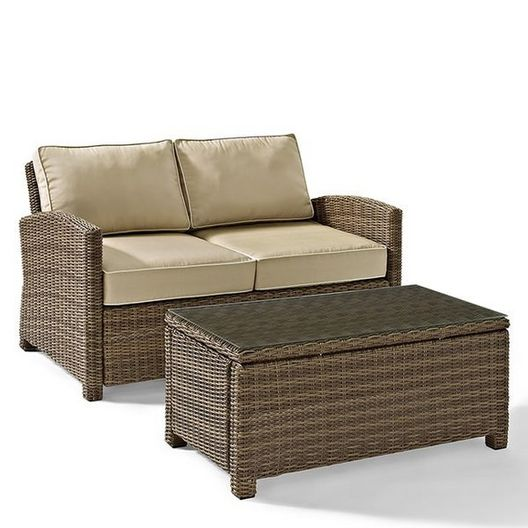 Crosley - Bradenton 2-Piece Wicker Conversation Set with Loveseat with Navy Cushions and Glass Top Table - 452150