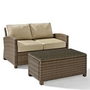 Bradenton 2-Piece Wicker Conversation Set with Loveseat with Navy Cushions and Glass Top Table