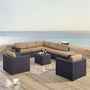 Biscayne Mocha 7-Piece Wicker Set with Two Loveseats, Two Arm Chairs, One Armless Chair, Coffee Table and Ottoman