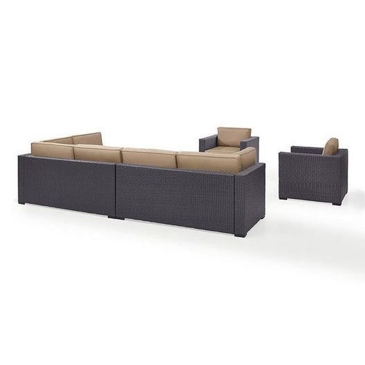Crosley - Biscayne Mocha 7-Piece Wicker Set with Two Loveseats, Two Arm Chairs, One Armless Chair, Coffee Table and Ottoman - 452120