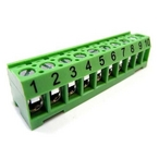 Terminal 10-Pin Bar, Green