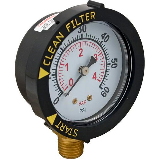 Filter Pressure Gauge, With Dial 1/4, Bottom Connection
