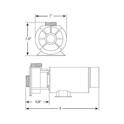 Waterway  Center Discharge 48-Frame 1HP Dual-Speed Spa Pump 115V
