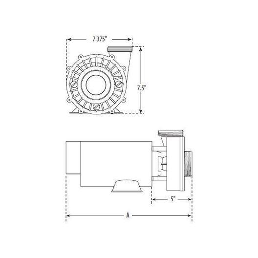 Waterway - Hi-Flo Side Discharge 4HP Dual-Speed Spa Pump, 230V - 625243