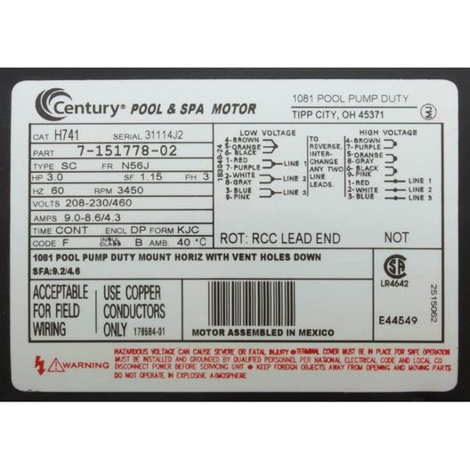 Century A.O Smith  Squirrel Cage 56J 3 HP Three Phase Full Rated Pool Pump Motor 9.6-9.2/4.6A 208-230/460V