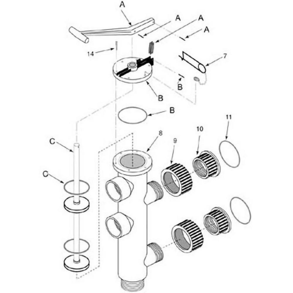Slide Backwash Valve Sta-Rite Plastic Valve Models 149350300 & WC212134P image
