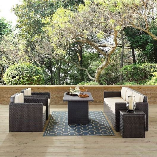 Crosley - Palm Harbor 5-Piece Wicker Set and Sand Cushions with Sofa, Two Armchairs, Side Table and Tall Coffee Table - 452265