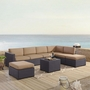 Biscayne Mocha 6-Piece Wicker Set with Two Loveseats, One Armless Chair, Coffee Table and Two Ottomans