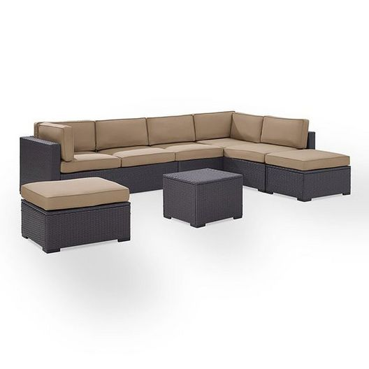 Crosley  Biscayne Mocha 6-Piece Wicker Set with Two Loveseats One Armless Chair Coffee Table and Two Ottomans