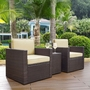 Palm Harbor 3-Piece Set with Two Armchairs, Side Table and Gray Cushions