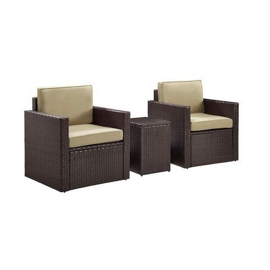 Crosley - Palm Harbor 3-Piece Set with Two Armchairs, Side Table and Gray Cushions - 452251