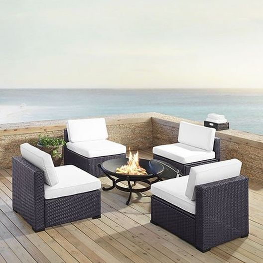 Biscayne 5-Piece Wicker Set with 4 Chairs, Mist Cushions & Firepit