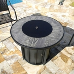 Faux Wood Tile Top Fire Pit