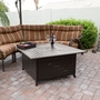 Outdoor Square Aluminum Fire Pit in Hammered Bronze