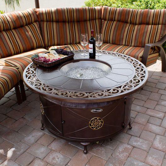 AZ Patio Heaters  Outdoor Rectangular Aluminum Propane Fire Pit with Scroll Design