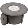 Cast Aluminum Round Fire Pit in Brushed Wood Finish