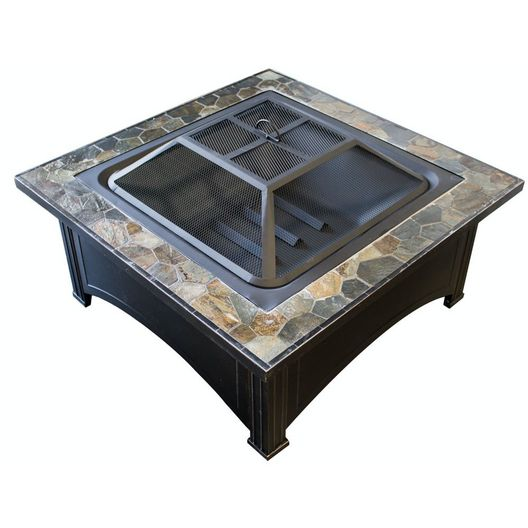AZ Patio Heaters  Wood Burning Fire Pit with Square Slate Table