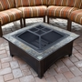 Wood Burning Fire Pit with Square Slate Table