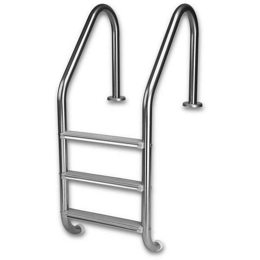 3-Step Economy Ladder with White High Impact Plastic Tread White Powder Coated
