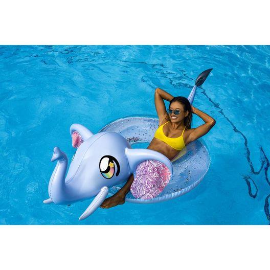 """PoolCandy  48""""Jumbo Glitter Elephant Pool Tube with Drink Float"""