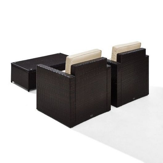 Crosley - Palm Harbor 3-Piece Wicker Sand Cushion Set with Two Armchairs and One Coffee Table - 452250
