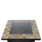 Propane Patio Fire Pit, Square Slate Bronze
