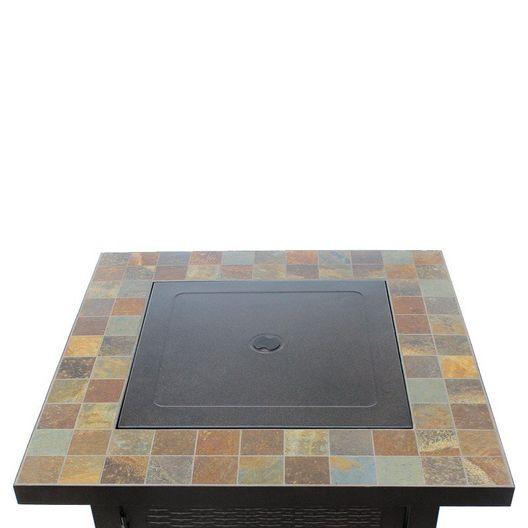 Propane Patio Fire Pit, Square Slate Bronze