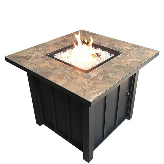 Square Tile Propane Fire Pit, 40K BTU