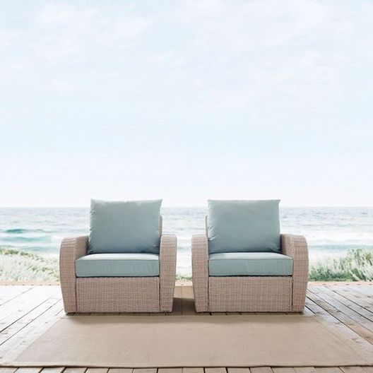 Crosley - St. Augustine 2-Piece Wicker Set and Mist Cushions with Two Armchairs - 452351