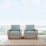 St. Augustine 2-Piece Wicker Set and Mist Cushions with Two Armchairs