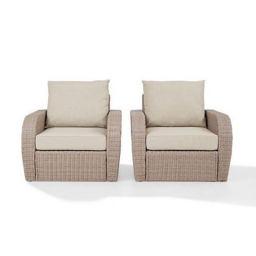 Crosley - St. Augustine 2-Piece Wicker Set and Oatmeal Cushions with Two Armchairs - 452353