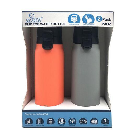 nICE  24 oz Flip Top Water Bottle 2-Pack
