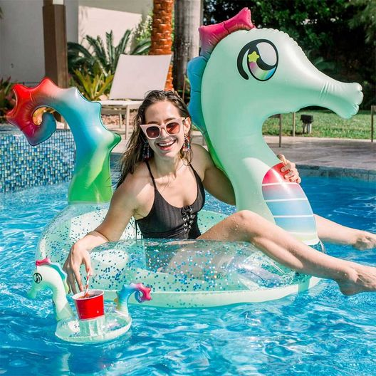 Pool Candy  Seahorse Glitter Pool Float with Drink Holder