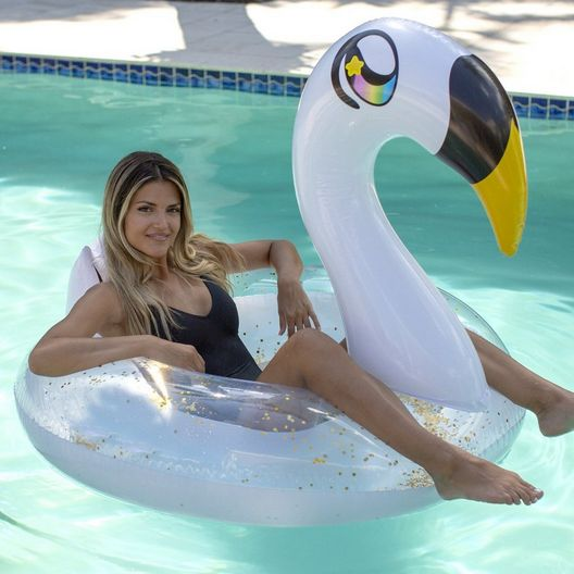 PoolCandy  Swan Glitter Pool Float 48 with Drink Holders