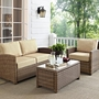 Bradenton 3-Piece Wicker Conversation Set with Navy Cushion Loveseat, Arm Chair and Glass Top Table