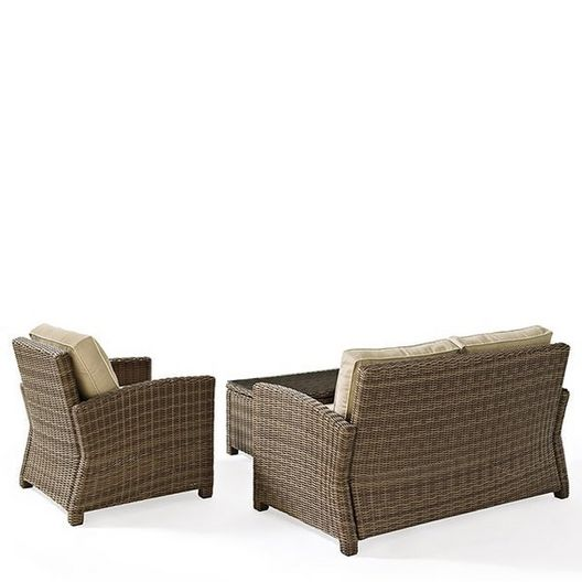 Crosley - Bradenton 3-Piece Wicker Conversation Set with Navy Cushion Loveseat, Arm Chair and Glass Top Table - 452158