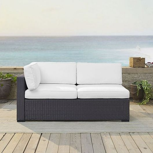 Crosley  Biscayne Loveseat with White Cushions