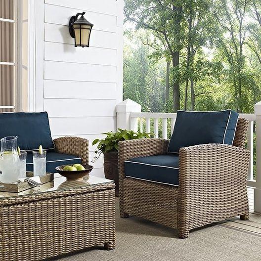 Crosley - Bradenton Wicker Arm Chair with Navy Cushions - 452185