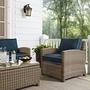 Bradenton Wicker Arm Chair with Navy Cushions