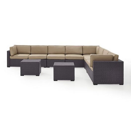 Crosley  Biscayne Mocha 7-Piece Wicker Set with Three Loveseats Two Armless Chairs and Two Coffee Tables