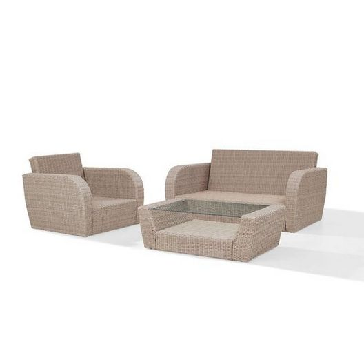 Crosley - St. Augustine 3-Piece Wicker Set and Mist Cushions with Loveseat, Armchair and Coffee Table - 452355