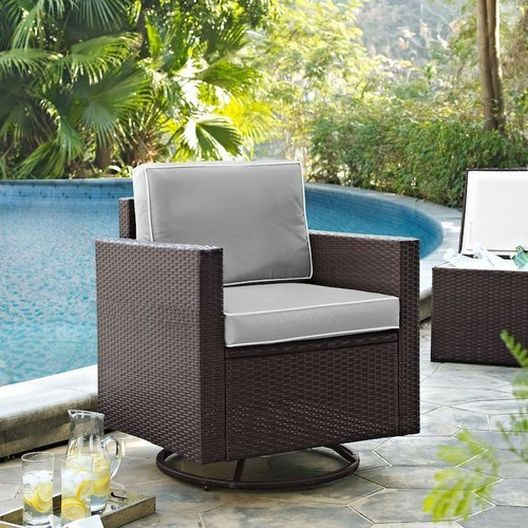 Crosley - Palm Harbor Swivel Rocker with Sand Cushions - 452333