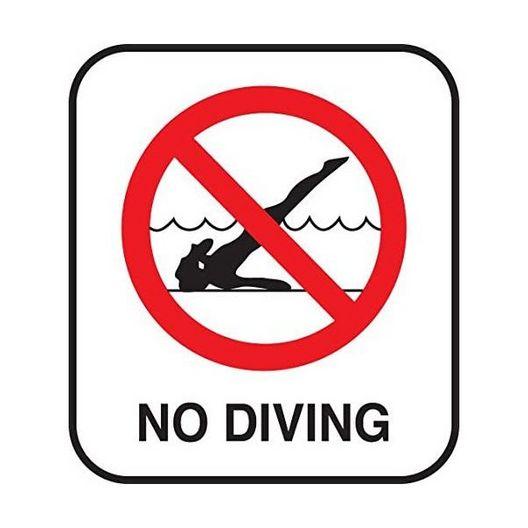 Vinyl Stickons No Diving Symbol (Red) Depth Marker for In Ground Pools