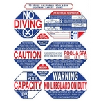 "TGPS1001 40"" x 48"" 8-in-1 California Pool & Spa Sign"