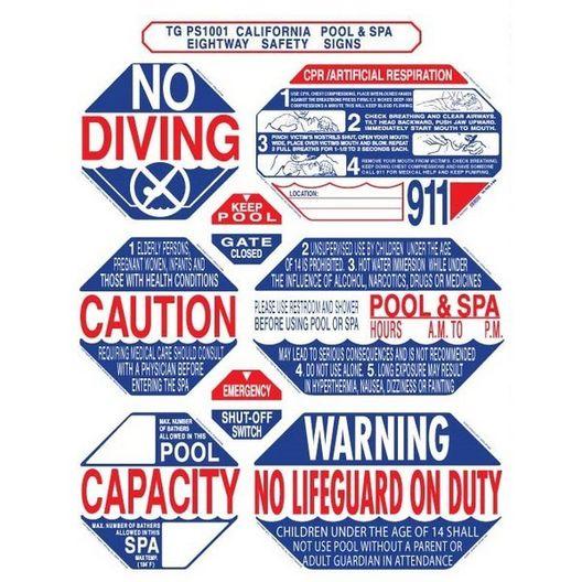 "TGPS1001 40"" x 48"" 8-in-1 California Pool & Spa Sign"