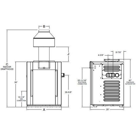Raypak - 009201 Millivolt,Copper, Propane 266,000 BTU Pool Heater - 51822