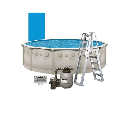 """Leslie's - Weekender II Deluxe 18' Round Above Ground Pool Package with 12"""" Sand Filter System - 387600"""