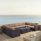 Biscayne Mocha 7-Piece Wicker Set with Four Loveseats, One Armless Chair and Two Coffee Tables